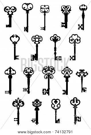 Large set of ornate vintage keys