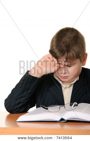 Boy Wearing Spectacles Masses An Eye For Weariness