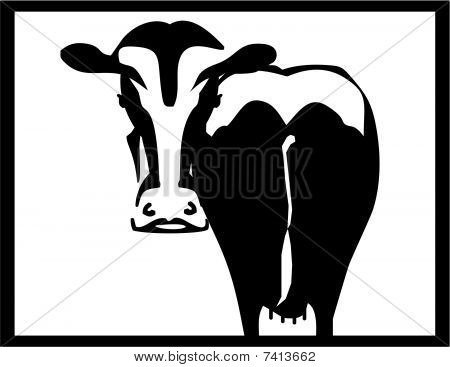 Black and white cow silhouette