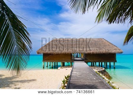 Spa salon on beach of tropical island - healthcare background