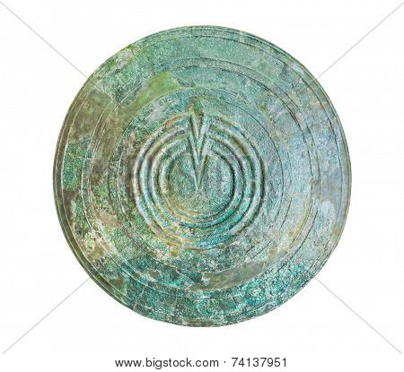 Bronze shield in Delphi museum, Greece isolated on white background