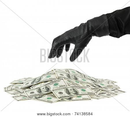 Hand in glove and money isolated on white background