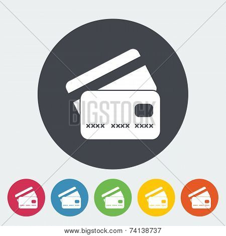 Credit card flat single icon.