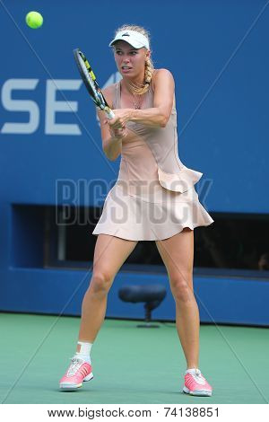 Professional tennis player Caroline Wozniacki during US Open 2014 third round match