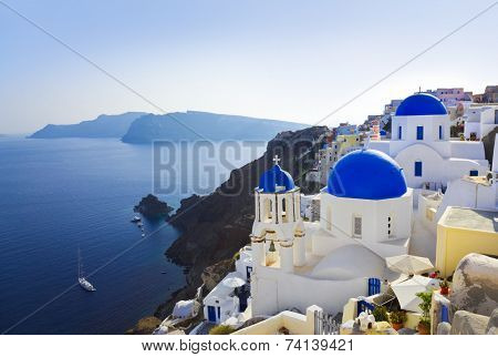 Santorini church (Oia), Greece - vacation background