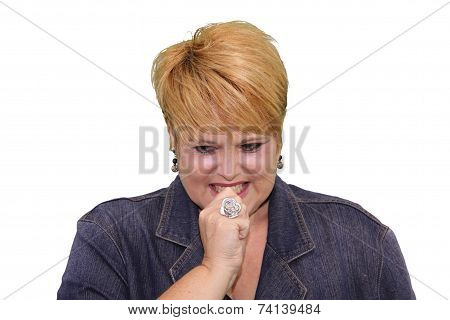 Mature Woman Body Language - Anxious Nail Biting