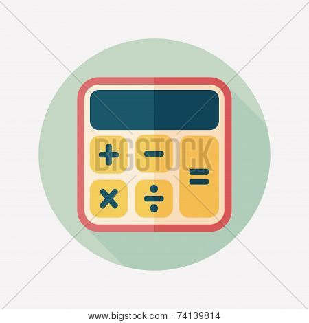 Calculator Flat Icon With Long Shadow,eps10