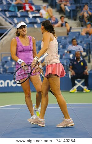 Five times Grand Slam champion Martina Hingis and Flavia Pennetta during US Open final doubles match