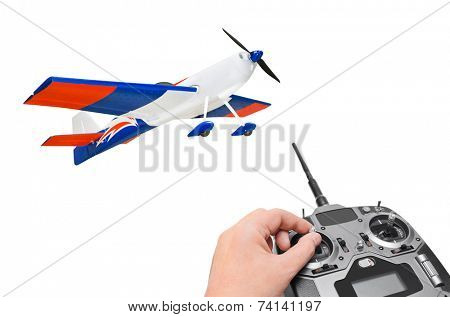 RC plane and radio remote control isolated on white background