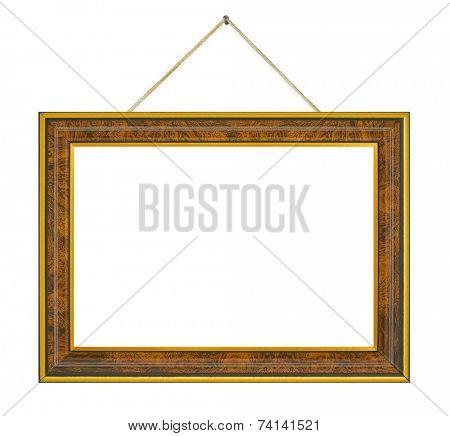 Retro frame with string isolated on white background