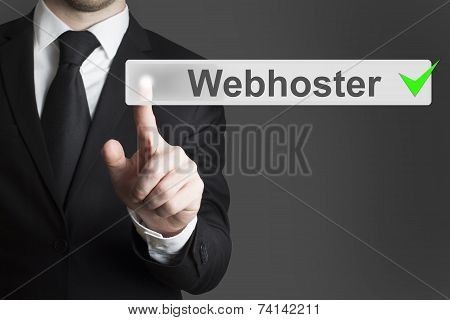Businessman Pushing Flat Button Webhoster