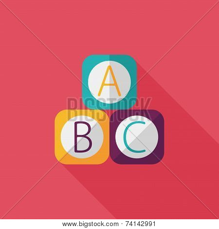 Abc Blocks Flat Icon With Long Shadow,eps 10