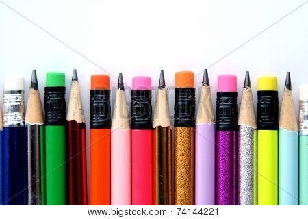 Sharpened Colorful Pencils and erasers