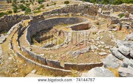 Tomb in Mycenae, Greece - archaeology background