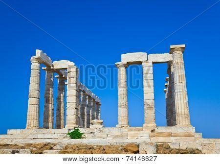 Poseidon Temple at Cape Sounion near Athens, Greece - travel background