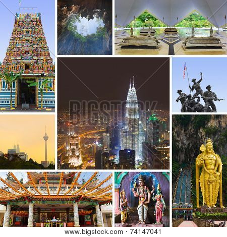 Collage of Kuala Lumpur (Malaysia) images - nature and tourism background (my photos)