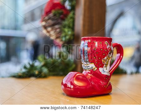 German Wine Christmas Cup In Shape Of A Boot