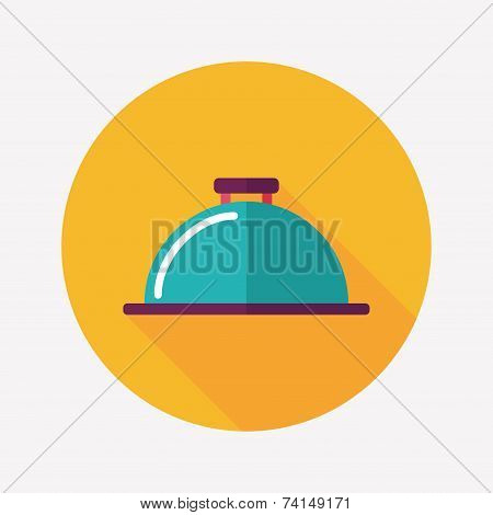 Restaurant Cloche Flat Icon With Long Shadow,