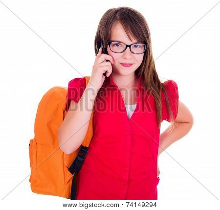Schoolgirl Talking On Mobile Phone