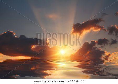 Sunset Sky Under River In Spring