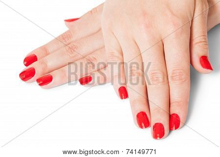 Woman With Beautiful Manicured Red Fingernails