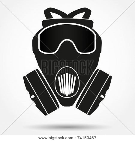 Silhouette symbol of gas mask respirator. Vector Illustration.