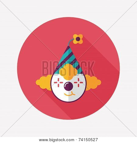 Clown Flat Icon With Long Shadow