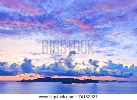 Island Praslin at sunset - nature background