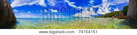 Panorama of tropical beach - vacation nature background