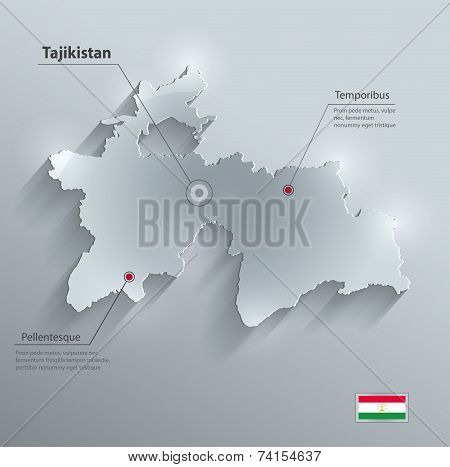 Tajikistan map flag glass card paper 3D vector
