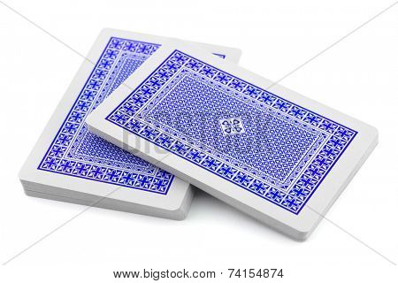 Deck of playing cards isolated on white background
