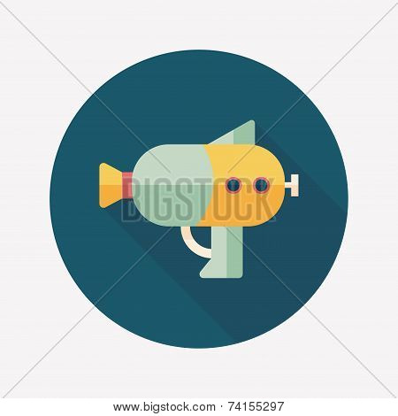 Water Gun Flat Icon With Long Shadow