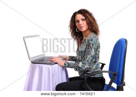Beautiful woman with a notebook on a white background