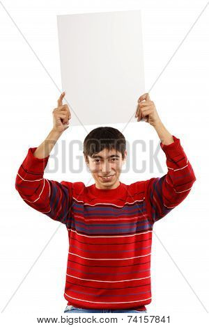 Smiling Man Raises Big Card