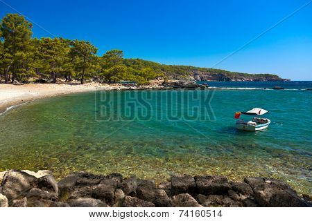 Beach at Phaselis in Antalya, Turkey - travel background