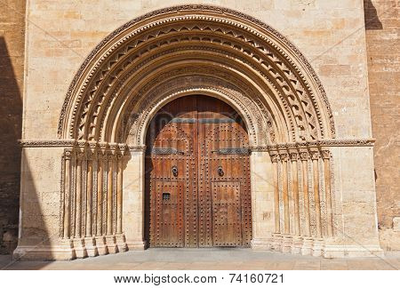 Entrance of the Cathedral of the Assumption of our Lady of Valencia Spain