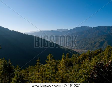 Beautiful View Over The Upper Paro Valley (bhutan) During Sunrise