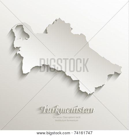 Turkmenistan map card paper 3D natural vector