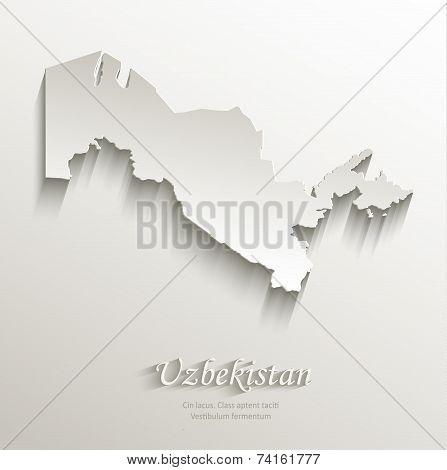 Uzbekistan map card paper 3D natural vector