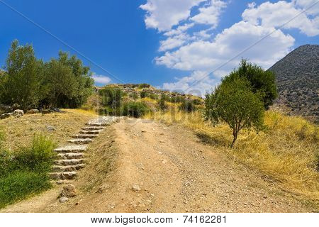 Pathway to Mycenae ruins, Greece - travel background