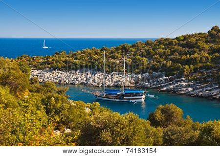 Ship in harbor at Turkey - travel nature background