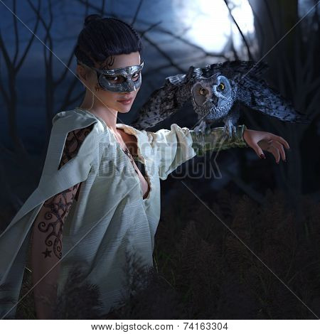 Beautiful sexy witch in mask with owl halloween background
