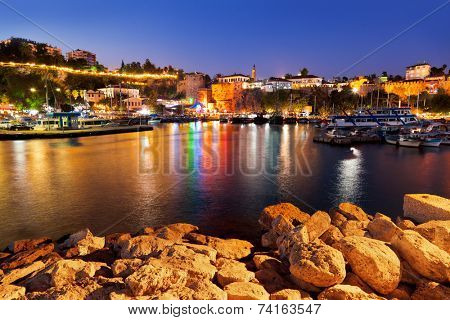 Old town Kaleici in Antalya, Turkey at night - travel background