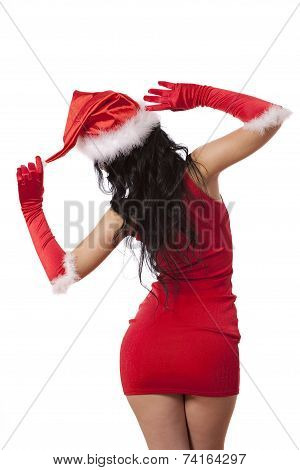 Sexy santa helper. Red dress, hat and gloves in the back