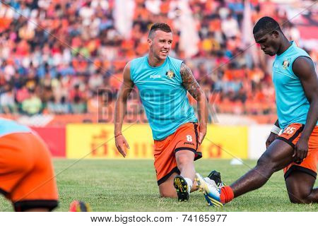 Sisaket Thailand-october 15: Brent Mcgrath Of Sisaket Fc. In Action During A Training Ahead Thai Pre
