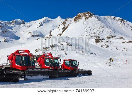 Snowplow at Mountains ski resort Bad Hofgastein Austria - nature and sport background