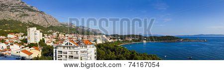 Panorama of Makarska at Croatia - resort travel background