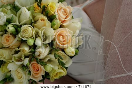 Brides bodice and bouquet