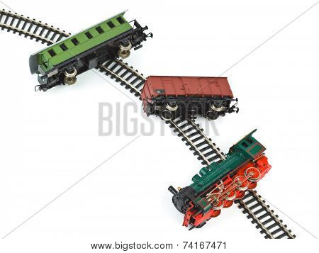 Crash toy train isolated on white background