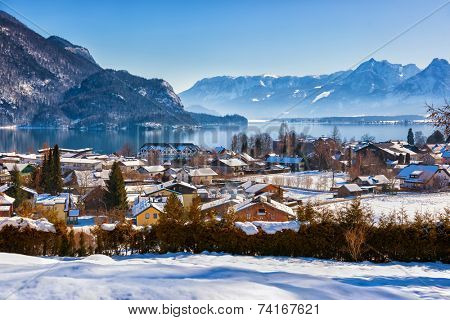 Mountains ski resort St. Gilgen Austria - nature and sport background